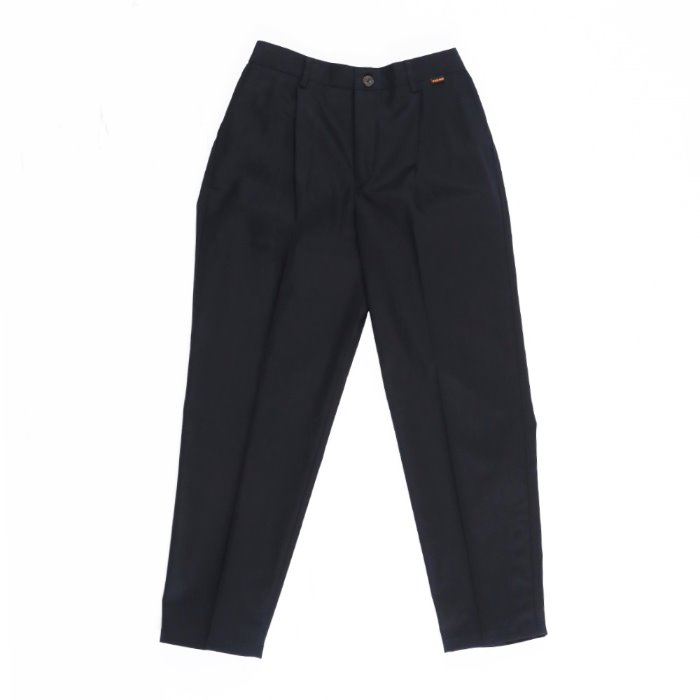 one tuck tapered cotton slacks_BLACK