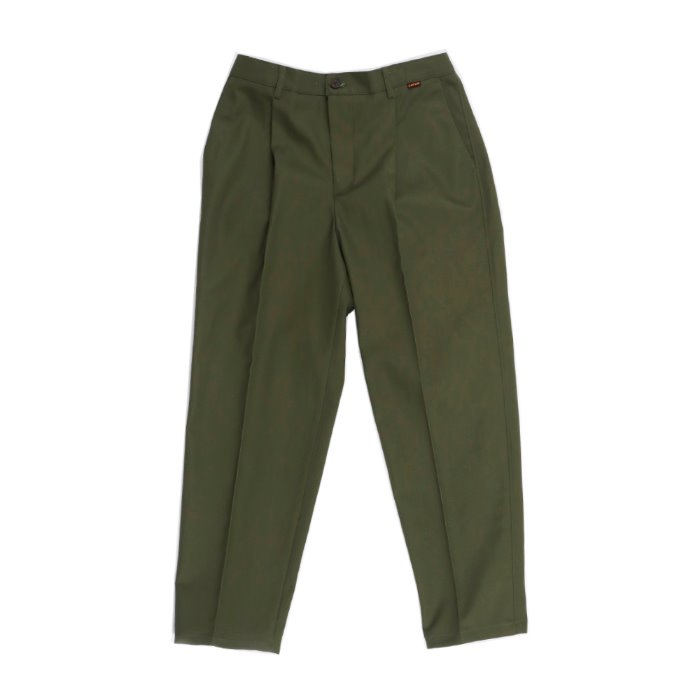 one tuck tapered cotton slacks_KHAKI